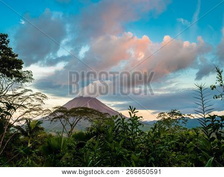 View Of Arenal Volcano, Costa Rica And Its Valley