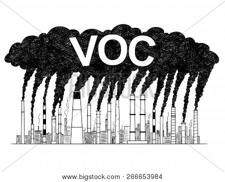 Vector Artistic Pen And Ink Drawing Illustration Of Smoke Coming From Industry Or Factory Smokestack