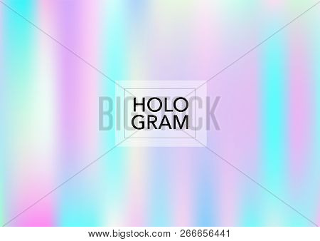 Princess Hologram Neon Vector Background. Luxury Trendy Dreamy Pearlescent Color Overlay. Cool Funky