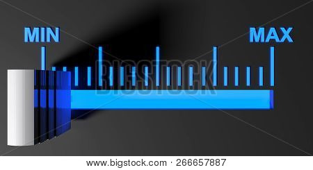 Level Selector On A Black Control Panel - 3d Rendering Illustration