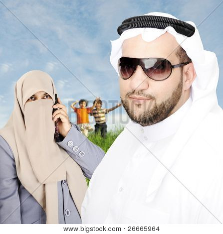 Arabic Couple muslim Looking at camera