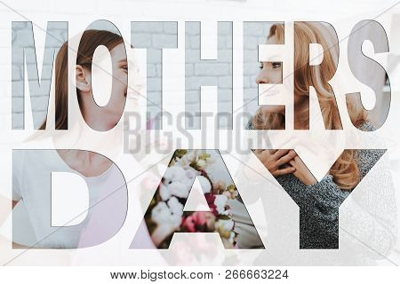 Mothers Day. Happy Family. Daughter Giving Bouquet To Mother. Bouquet Of Beautiful Flowers. Mother A
