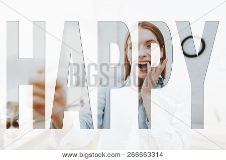Happy Family. Girl Holding A Pregnancy Test. Girl Are Surprised. Girl Happy And Smiling. Girl Are Fe