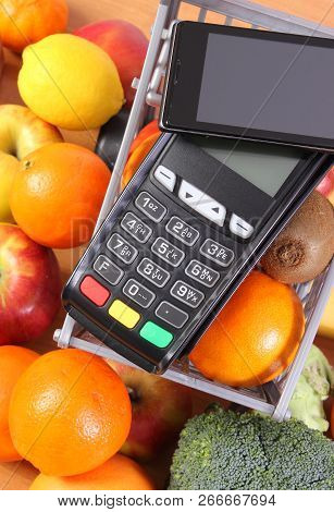 Payment Terminal, Credit Card Reader With Mobile Phone With Nfc Technology, Fruits And Vegetables Wi