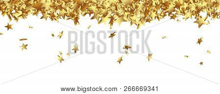 Golden Starlets Falling On The Ground Panorama - Isolated Horizontal Banner With White Background. W