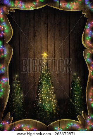 Christmas Fairy Lights On Wood. Christmas Tree Illuminated.  Background With String Lights And Pine