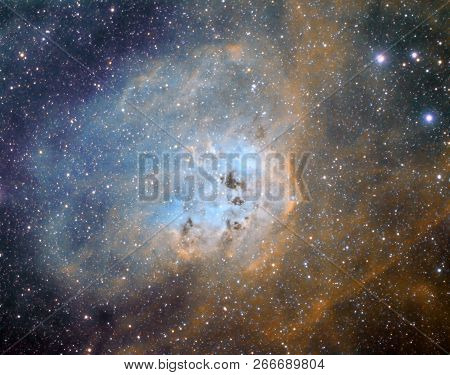 IC410, also called the Tadpoles nebula is an emission nebula situated in the constellation Auriga, about 12.000 light years from Earth. It is part of the large star forming region, containing as well the Flaming Star Nebula.