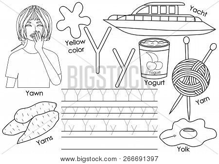 Letter Y. Learning English Alphabet With Pictures And Writing Practice For Children. Coloring Book.