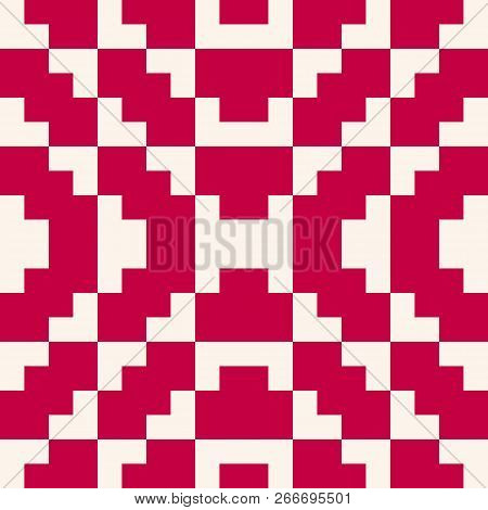 Vector Geometric Traditional Folk Ornament. Seamless Pattern With Square Shapes. Tribal Ethnic Motif