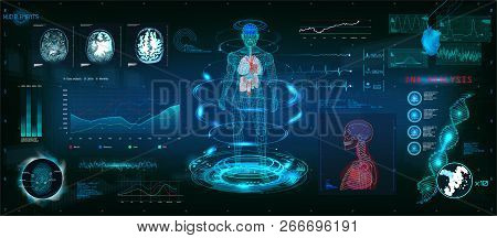 Mrt Futuristic Scanning In Hud Style Design, Human Body, Organs And Brain Scan With Pictures. Hi-tec