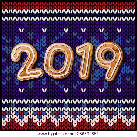 2019 Merry Christmas & New Year Poster. Christmas Knitted Background With Inscription 2019 Of Christ