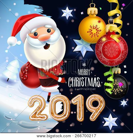 2019 New Year & Merry Christmas Symbol. Santa Claus On A Winter Background With Gifts, Christmas Toy