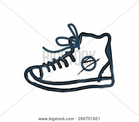 Shoes Sneakers Monochrome Icon In Line Art Style. Closeup Of Footwear For Sport Trainings Outline Sk