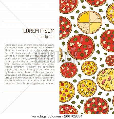 Vector Illustration With Cartoon Hand Drawn Pizza Background. Vector Pizzeria, Cafe, Restaurant Menu