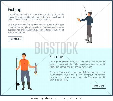 Fishing Hobby Of People Wearing Special Clothes And Waders To Protect Feet From Water. Posters With