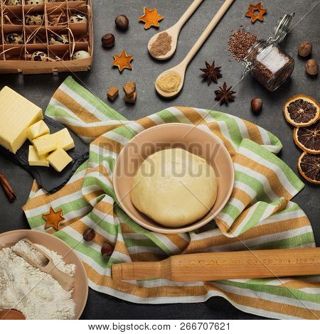 Flat Lay. Set Of Products, Fragrant Spices, And Fluffy Yeast Dough For Making Buns