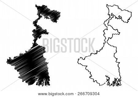 West Bengal (states And Union Territories Of India, Federated States, Republic Of India) Map Vector