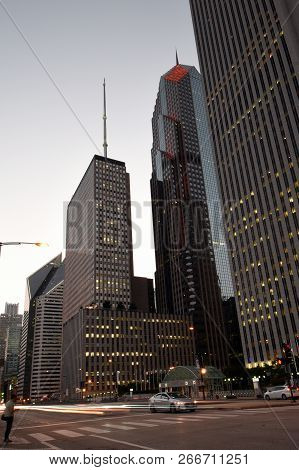 Aon Center, One Prudential Plaza And Two Prudential Plaza  Office Buildings Skyscrapers In Downtown