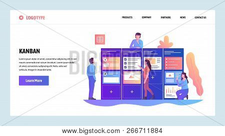 Vector Web Site Design Template. Agile Project Management And Scrum Task Board. Agile Software Devel