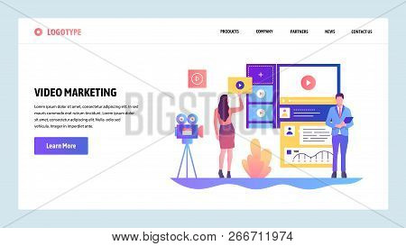 Vector Web Site Design Template. Video Marketing And Advertisement. Landing Page Concepts For Websit