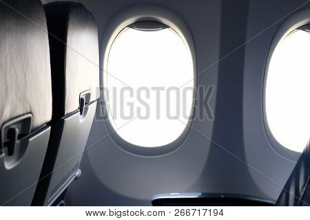 Airplane Window Inside Cabin. Opening Aircraft Porthole