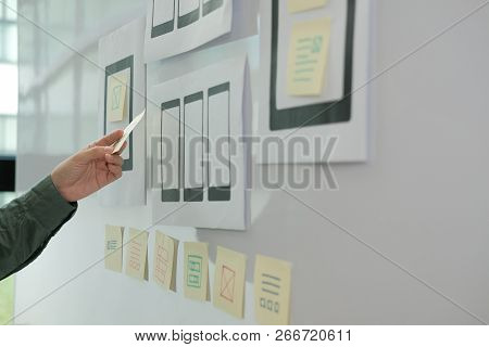 User Experience Ux Designer Designing Web On Mobile Phone Tablet Layout. Ui Planning Mobile Applicat