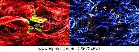 Socialist Republic Of Viet Nam Vs European Union, Eu Smoke Flags Placed Side By Side. Thick Colored