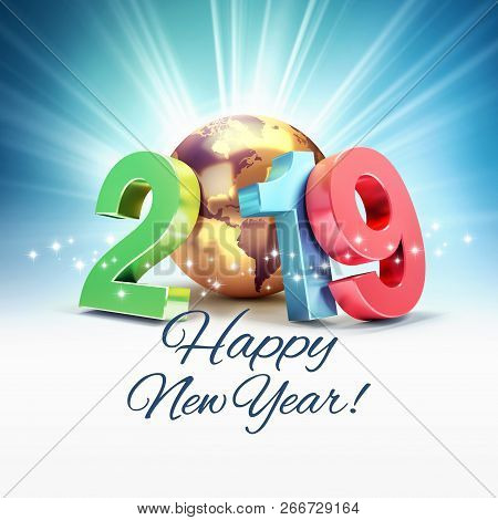 Happy New Year greetings and 2019 colorful date number composed with a gold planet earth, focused on America, shining stars and light rays behind - 3D illustration