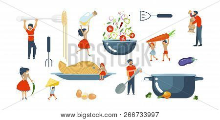 Happy Family Cooking Together Set For Cooking Master Class In Flat. Dad, Mom, Daughter, Son Enjoys O
