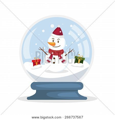 Merry Christmas Glass Ball With Snowman. Snowglobe Christmas Concept. Vector Stock.