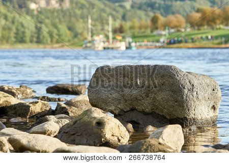 Low Water In A Hot Summer On The River Elbe At Rathen In The Elbe Sandstone Mountains