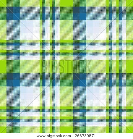 Madras Plaid Pattern In Lime, Teal, Blue And White. Seamless Fabric Texture Print.