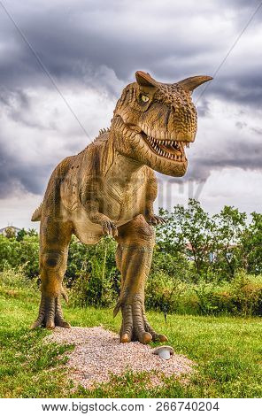 San Marco In Lamis, Italy - June 9: Carnotaurus Dinosaur, Featured In The Dino Park In San Marco In
