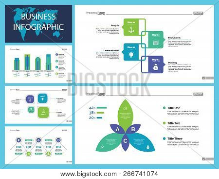 Business Infographic Presentation Slide Design Set Can Be Used For Workflow Layout, Annual Report, W