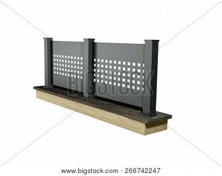 Modern Aluminum Panel Fence. Black Alu Fence Model 3d Illustration