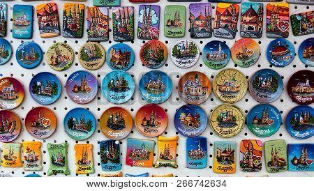Zagreb, Croatia, July 22, 2018: Miscellaneous Zagreb Souvenirs On Display.
