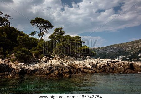 Lokrum Island In The Adriatic Sea, Near The City Of Dubrovnik, Croatia. Day Trips To The Island Are