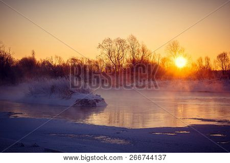 Dawn On The River Usva, Russia. Frosty Morning On The River, Winter. Snow On The Banks Of The River,