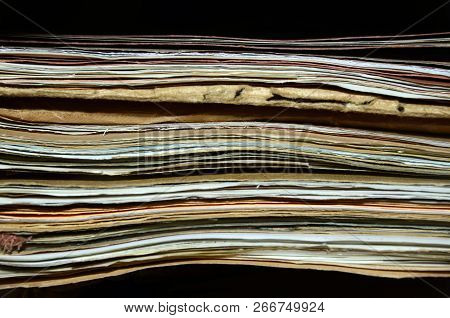 Stack Of Old Folders And Files Or Sheets In A Cabinet, Close Up For Background
