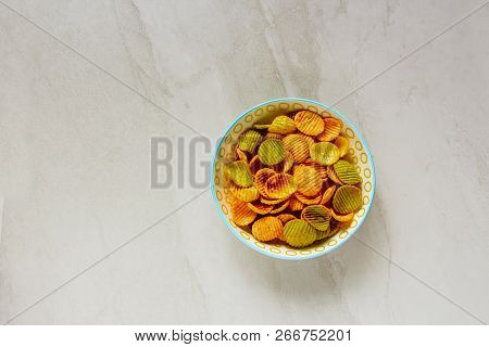 Veggie Chips On Light Background Flat-lay Top View