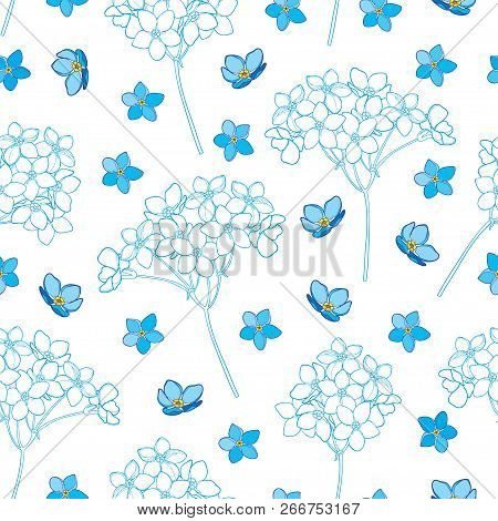 Vector Seamless Pattern With Outline Forget Me Not Or Myosotis Flower, Bunch And Bud In Blue On The