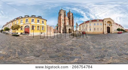 Wroclaw, Poland - September, 2018: Full Seamless Spherical Panorama 360 Degrees District Ostrow Tums