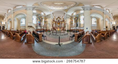 Vilnius, Lithuania - September, 2018: Full Seamless Spherical Panorama 360 By 180 Degrees Angle View