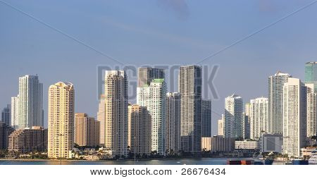 The skyline of Miami, Florida.