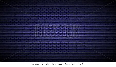 Brick Wall With Light Source Background Isolated On Dark Blue. Vector Illustration.