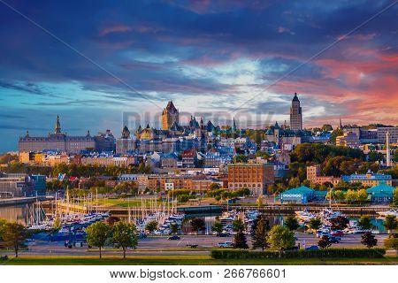 Marina And City In Quebec City, Quebec, Canada