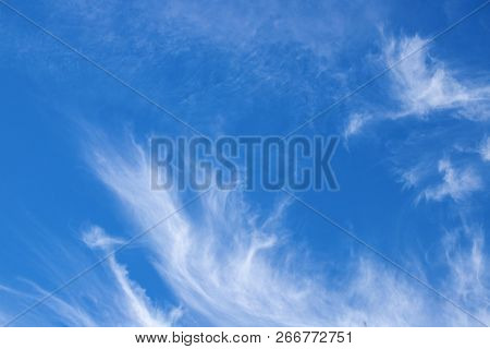 Blue sky with white cloud. Thin cirrus cloud on blue. Skyscape abstract photo. Optimistic sunny sky view with thin wispy strand of high cloud. Atmospheric phenomenon. Beautiful sky. Natural wallpaper poster