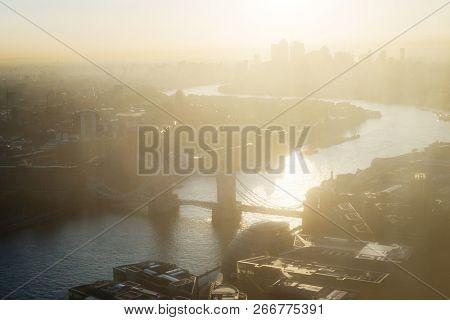 sunrise, London aerial view with Tower Bridge, UK