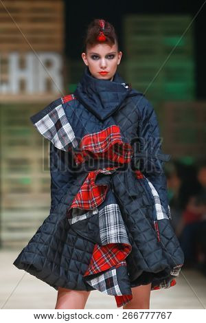 Zagreb, Croatia - October 27, 2018 : Fashion Model Wearing Clothes For Autumn-winter, Designed By Zo