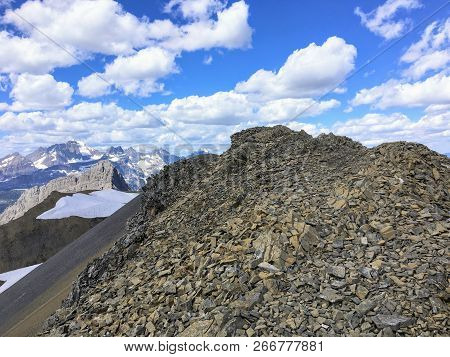 High In The Rocky Mountains Doing The Northover Ridge Hike In Kananaskis, Alberta, Canada.  This Por